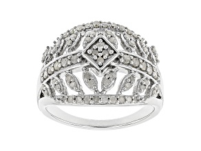 White Diamond Rhodium Over Sterling Silver Ring 0.55ctw