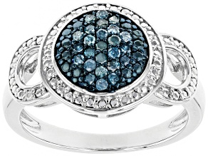 Blue Diamond Rhodium Over Sterling Silver Ring 0.25ctw