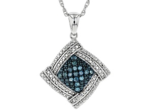 "Blue Diamond Rhodium Over Sterling Silver Pendant With 18"" Rope Chain 0.25ctw"