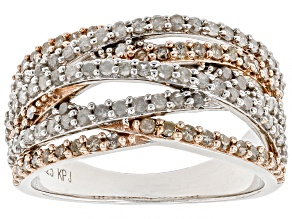 White and Candlelight Diamonds™ Rhodium Over Sterling Silver Ring With 14k Rose Gold Accents 1.00ctw