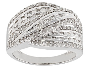 White Diamond Rhodium Over Sterling Silver Ring 0.53ctw