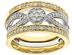 White Diamond 14K Yellow Gold Over Sterling Silver And Rhodium Over Sterling Silver Ring Set 0.54ctw