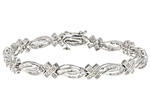 White Diamond Rhodium Over Sterling Silver Bracelet 1.72ctw