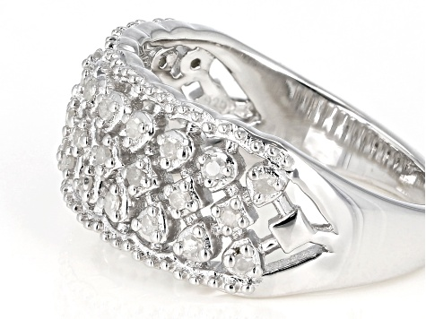 White Diamond Rhodium Over Sterling Silver Ring 0.22ctw