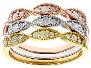 White Diamond, Rhodium and 14k Yellow and Rose Over Sterling Silver Ring Set of 3