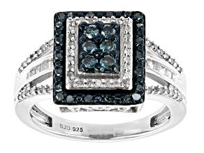 Blue And White Diamond Rhodium Over Sterling Silver Ring 0.60ctw