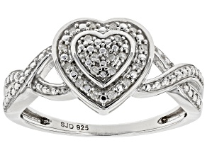 White Diamond Accent Rhodium Over Sterling Silver Heart Ring
