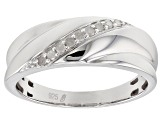 White Diamond Rhodium Over Sterling Silver Gents Ring 0.15ctw