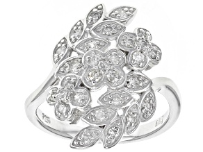 White Diamond Rhodium Over Sterling Silver Ring 0.50ctw