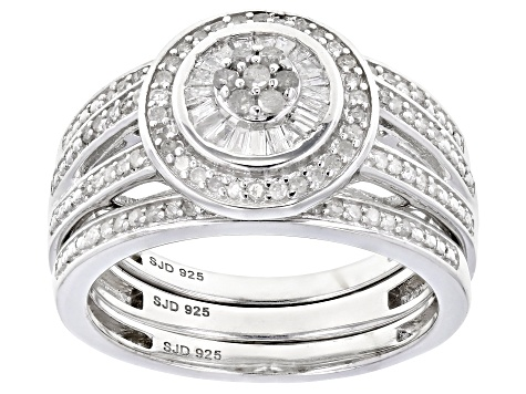 White Diamond Rhodium Over Sterling Silver Ring With Matching Bands 0.50ctw