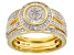 White Diamond 14K Yellow Gold Over Sterling Silver Ring With Matching Bands 0.50ctw