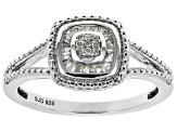 White Diamond Rhodium Over Sterling Silver Ring 0.15ctw