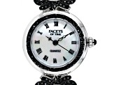 1.43ctw Round Black Spinel Mop Dial Sterling Silver Watch