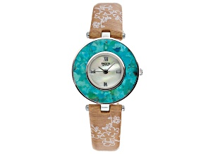 Green Turquoise Mop Dial Sterling Silver Watch