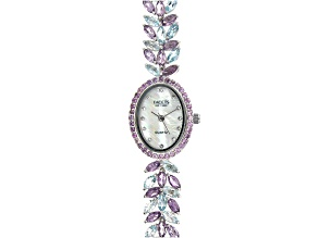 15.66ctw Amethyst And Sky Blue Topaz Mother of Pearl Dial Sterling Silver Watch