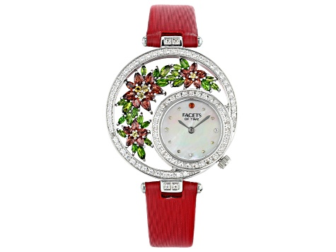 Red Garnet with multi-gemstone Mother of Pearl Dial Sterling Silver Watch 6.54ctw