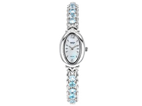 Blue topaz Rhodium Over Brass Watch 5.27ctw
