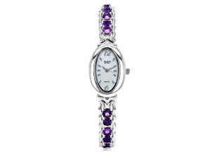 Purple Amethyst Rhodium Over Brass Watch 3.83ctw