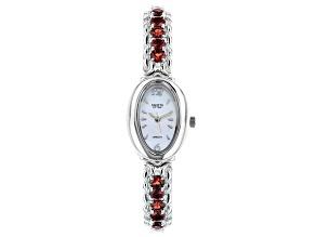 "Red Vermelho Garnet(TM) Rhodium Over Brass ""Facets of Time"" Watch 5.78ctw"