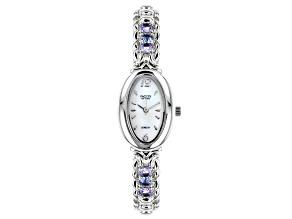 Blue Tanzanite Rhodium Over Brass Watch 2.35ctw