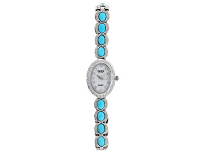 Blue Sleeping Beauty Turquoise Brass Watch
