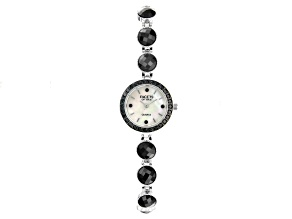 Black spinel Rhodium over Brass Watch 15.20ctw