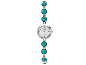 Blue Turquoise  Rhodium Over Brass Watch 0.08ctw