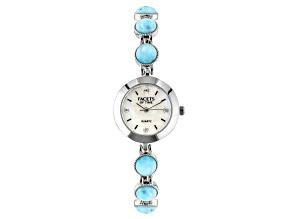 Blue Larimar Rhodium Over Brass Watch 0.08ctw