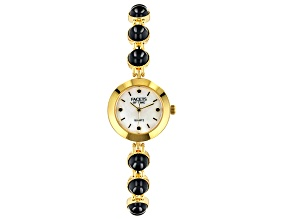 Black Spinel 18k Yellow Gold Over Brass Watch 18.77ctw