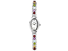 Multi-Gemstone Rhodium Over Brass Watch 6.01ctw