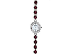 Red Mahaleo Ruby® Rhodium Over Brass Watch 12.64ctw