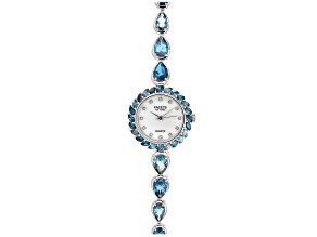 London Blue Topaz Facets Of Time™ Rhodium Over Brass Watch 13.50ctw