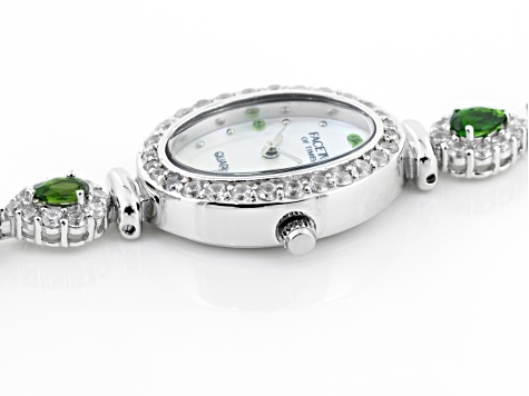 3.16ctw chrome diopside and 6ctw round white zircon mop dial sterling silver watch