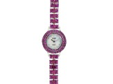 19.75ctw round raspberry color rhodolite sterling silver watch
