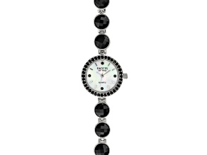 23.91ctw Black Spinel Mop Dial Sterling Silver Watch