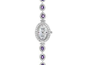 2.24ctw amethyst 6ctw White Zircon Mop Dial Sterling Silver Watch