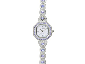 3.17ctw tanzanite 2.31ctw white zircon sterling silver watch