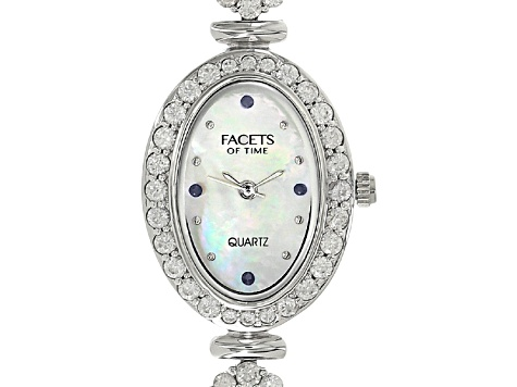 3.04ctw multi Sapphire 6ctw White Zircon Mop Dial Sterling Silver Watch