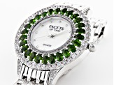 4.27ctw oval chrome diopside and 2.5ctw round white zircon mop dial sterling silver watch
