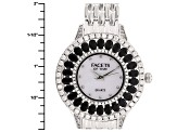 3.82ctw oval black spinel and 2.51ctw round white zircon mop dial sterling silver watch