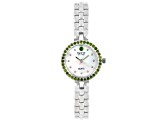 .97ctw round chrome diopside mop dial sterling silver watch