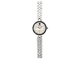.97ctw round black spinel mop dial sterling silver watch
