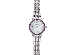 Ladies round 2.7ctw round raspberry color rhodolite steling silver watch