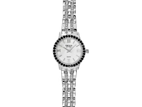 1.44ctw Round Black Spinel And 1.26ctw Round Zircon Sterling White Watch