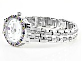 2.4ctw blue pink and yellow sapphire and white zircon sterling White watch