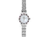 .48ctw round raspberry color rhodolite and 2.22ctw round white zircon sterling White watch