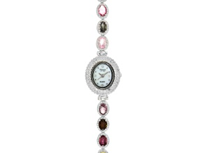 8.5ctw Oval Tourmaline & 3.0ctw Round White Zircon Sterling Silver Watch