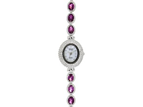 8.5ctw Oval raspberry color Rhodolite & 3.0ctw Round White Zircon Sterling Silver Watch