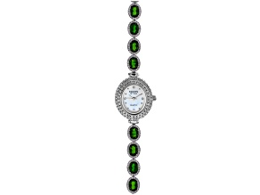 Facets Of Time™ Green Chrome Diopside Rhodium Over Brass Watch 12.21ctw