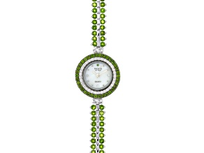 9.75ctw Round Chrome Diopside & 1.15ctw Round White Zircon Sterling Silver Watch